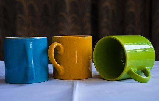 Mugs, China Clay, Chinaware, Cup, Blue, Green, Orange