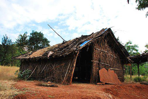 Hut, Hutment, Poor, Poverty, Rural, Tribal, Primitive