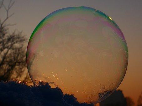 Soap Bubble, Shimmer, Frozen, Frost, Winter