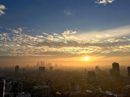City, Panorama, London, Early, Morning, Burning, Sky