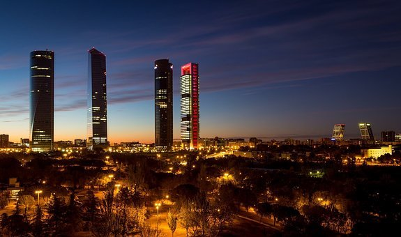 Madrid, Spain, Torres, Skyline, Leaderboard, Skyscraper