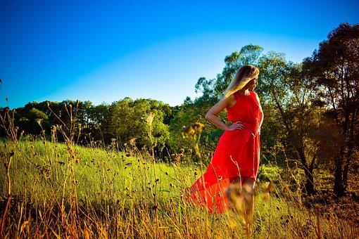 Nature, Girl, Forest, Sun, Tree, Sky, Trees, Birch