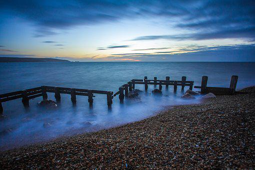 Coast, Breakwaters, Ocean, Twilight, Keyhaven, England