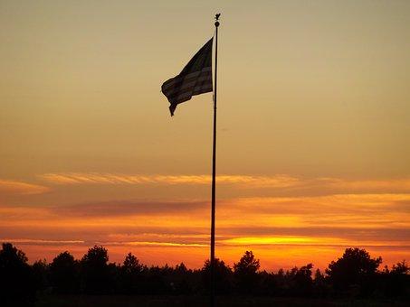 American Flag, Patriot, Sunrise, Flag, American, Usa