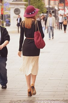 Lady Walking On The Street, Walking Away, Elegant Woman