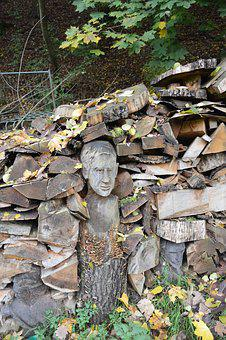 Wood, Carvings, Autumn, Forest, Nature, Face, Figures
