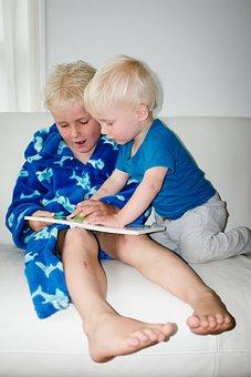 Boys, Reading, Children, Book, Kids, Blonde, Learning
