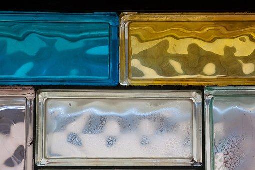 Glass Blocks, Rectangular Components, Blue, Yellow