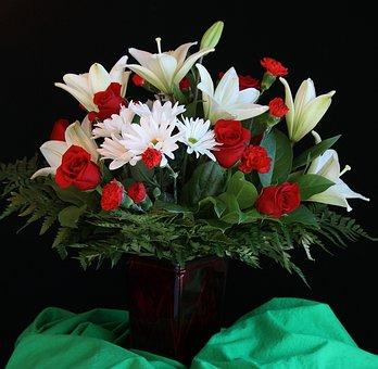Flower Vase, Bouquet, Arrangement, Roses, Lilies