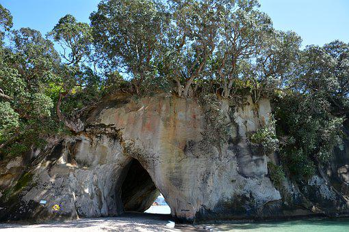 Cathedral Cove, New Zealand, Cave, Rock, Sky, Beach