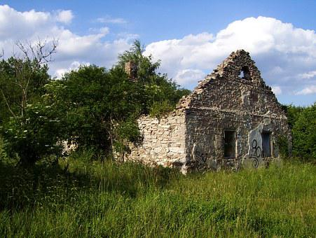 The Ruins Of The, Scrubs, Ivy, Sky, Cottage, The Stones