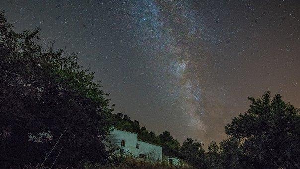Milky Way, Farmhouse, Sky, Star, Landscape, Trail