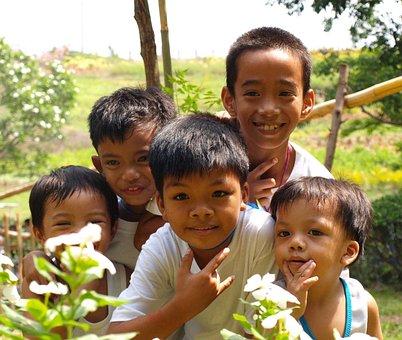 Children, Smiling, Asian, Filipino, Outdoor, Fun