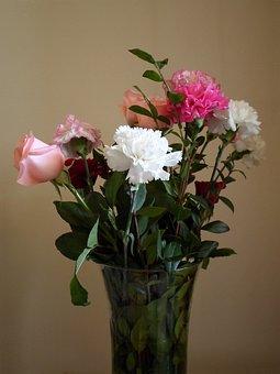 Bouquet, Flowers, Plants, Petals, Carnations
