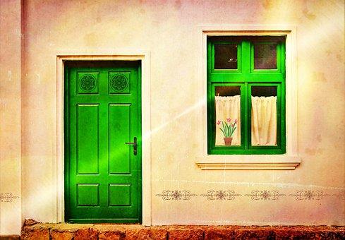 Housewife, Front Door, Door, Home, Window, Input