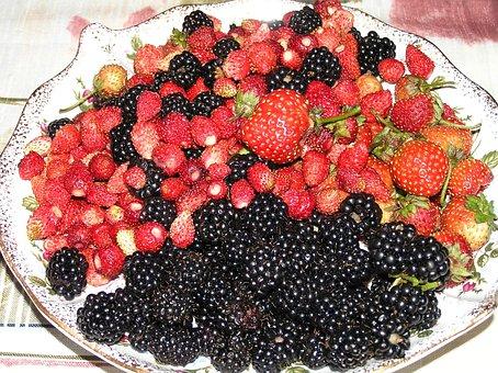 Berry, Garden, Harvest, Wild Strawberry, Blackberry