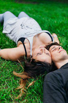 Couple, Laying, Grass, Park, Casual, Young, Mommy To Be