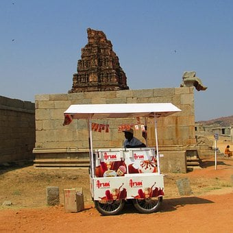 Ice Cream Vendor, Hampi, India, Icecream, Ice Cream