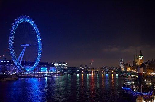 The Eye, London, Night Photograph, London Eye, Blue