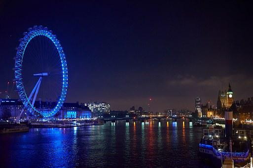 The Eye, London, Night Photograph, London Eye, Blue