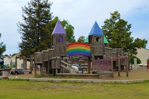 Rainbow, School, Park, Child, Education, Fun, Girl, Boy