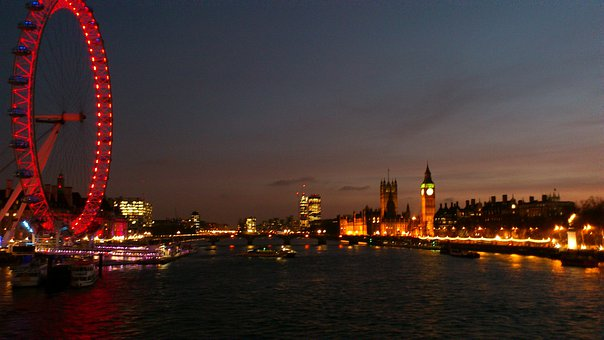 London, London Eye, Night, Thames, River Walk