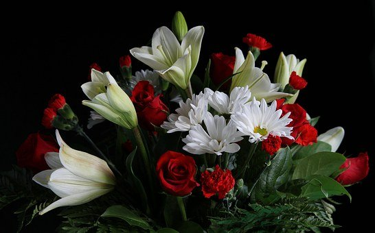 Bouquet, Flower Arrangement, Lilies, Roses, Carnations