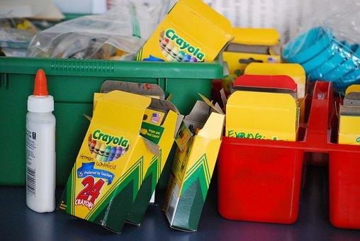 School Supplies, Back To School, Crayons, Glue