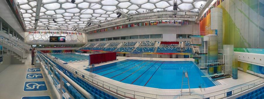 Water Cube, Swimming Pool, China, Olympics, Panorama
