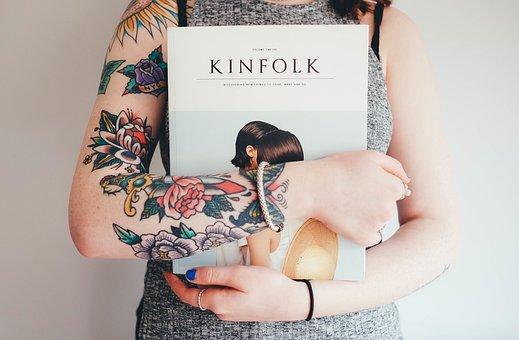 Woman, Tattoos, Flower Tattoos, Book, Hands, Female