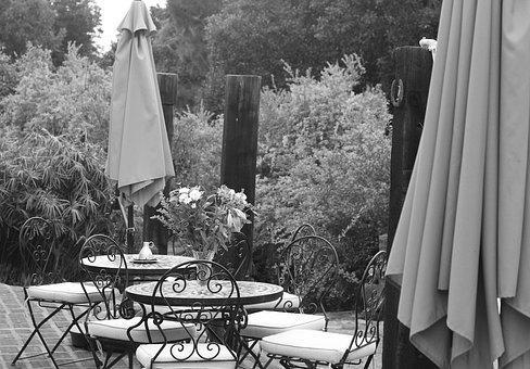 Silence, Terrace, Outdoors, In Black And White, Cafe