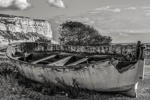 Boat, Weathered, Aged, Abandoned, Broken, Beach