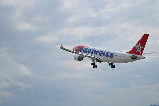 Airbus, Travel, Aircraft, Edelweiss, Sky, Barcelona