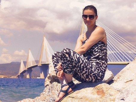 Beautiful Girl By The Sea, Rio-adirio Bridge Patra