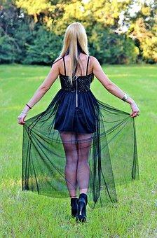 Woman, Blonde, Female Legs In Black Dress
