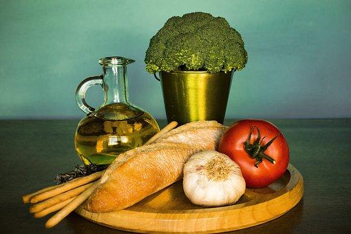 Broccoli, Bread, Tomato, Garlic, Oil, Vegetables, Food