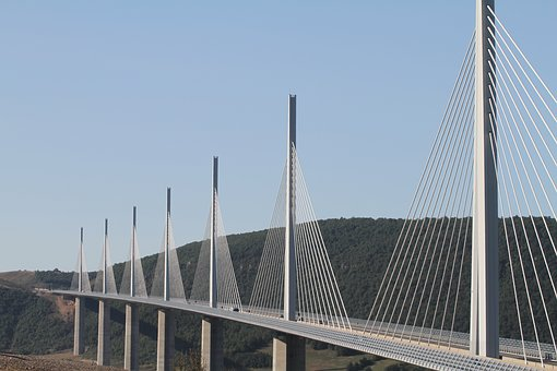Viaduct, Millau, Bridge, France, Cables, Highway