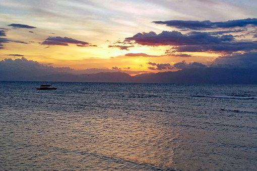 Moalboal, Cebu, Philippines, Beach, Sunset, Coast