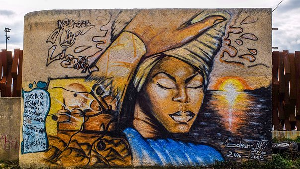 Graffiti, Tag, Paint, Girl, Wall, France, Marseille