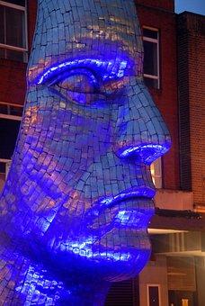 Face, Blue, Sculpture, Metal, Night, Head