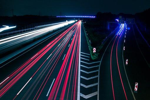 Traffic, Lights, Highway, Night, Blue, Red, White