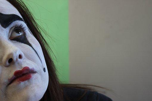 Mime, Brown Eyes, Face Painting, Make Up, Sad, Face