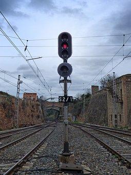 Traffic Light, Red, Stop, Railway, Train, Via
