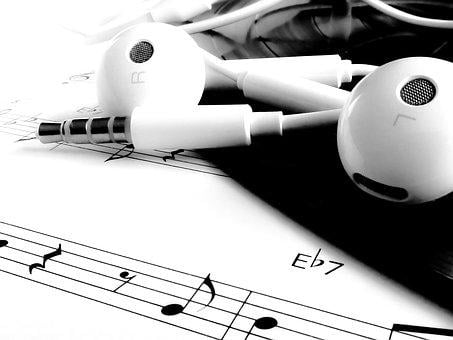 Music, Note, Headset, Melody, Black, White, Record