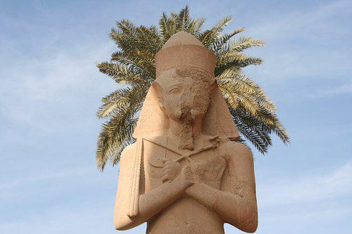 Luxor, Egypt, Pharaoh, Humor, Statue, Ruins, Palm