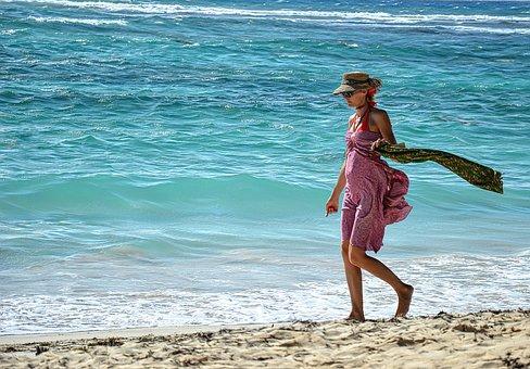Sea, Beach, Woman, Beauty, Model, Elegance, Sun