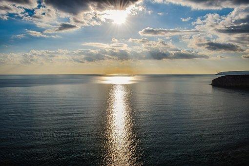 Path Of Light, Sun, Sea, Sky, Clouds, Nature, Sunlight