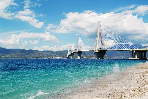 Beautiful Sea Landscape, Patra Bridge Greece, Seascape