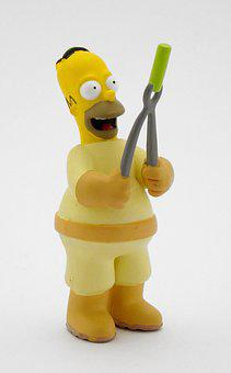 Homer, Simpsons, Drawing, Snowman, Toy