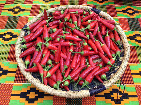 Hot, Peppers, Basket, Red, Spicy, Vegetable